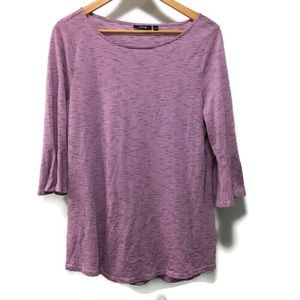 APT. 9 purple pinstripe bell sleeve top size large